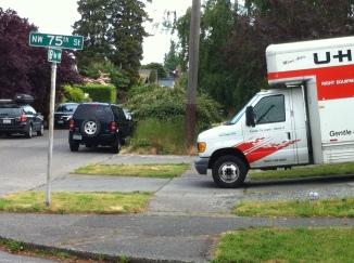 uhaul truck blocking sidewalk