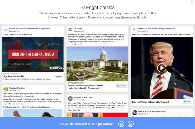 Facebook far right ads